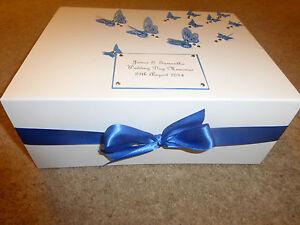 Wedding Keepsake Box Extra large personalised Memory Royal Blue ...