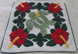 Hawaiian quilt handmade cushions hand quilted applique throw