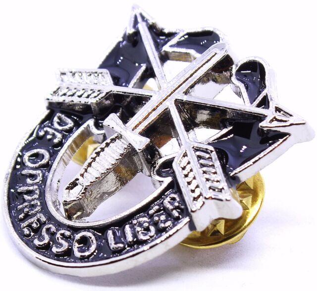 U.S MILITARY ARMY SPECIAL FORCES HAT PIN DE OPPRESSO LIBER FLASH BERET CAP BADGE