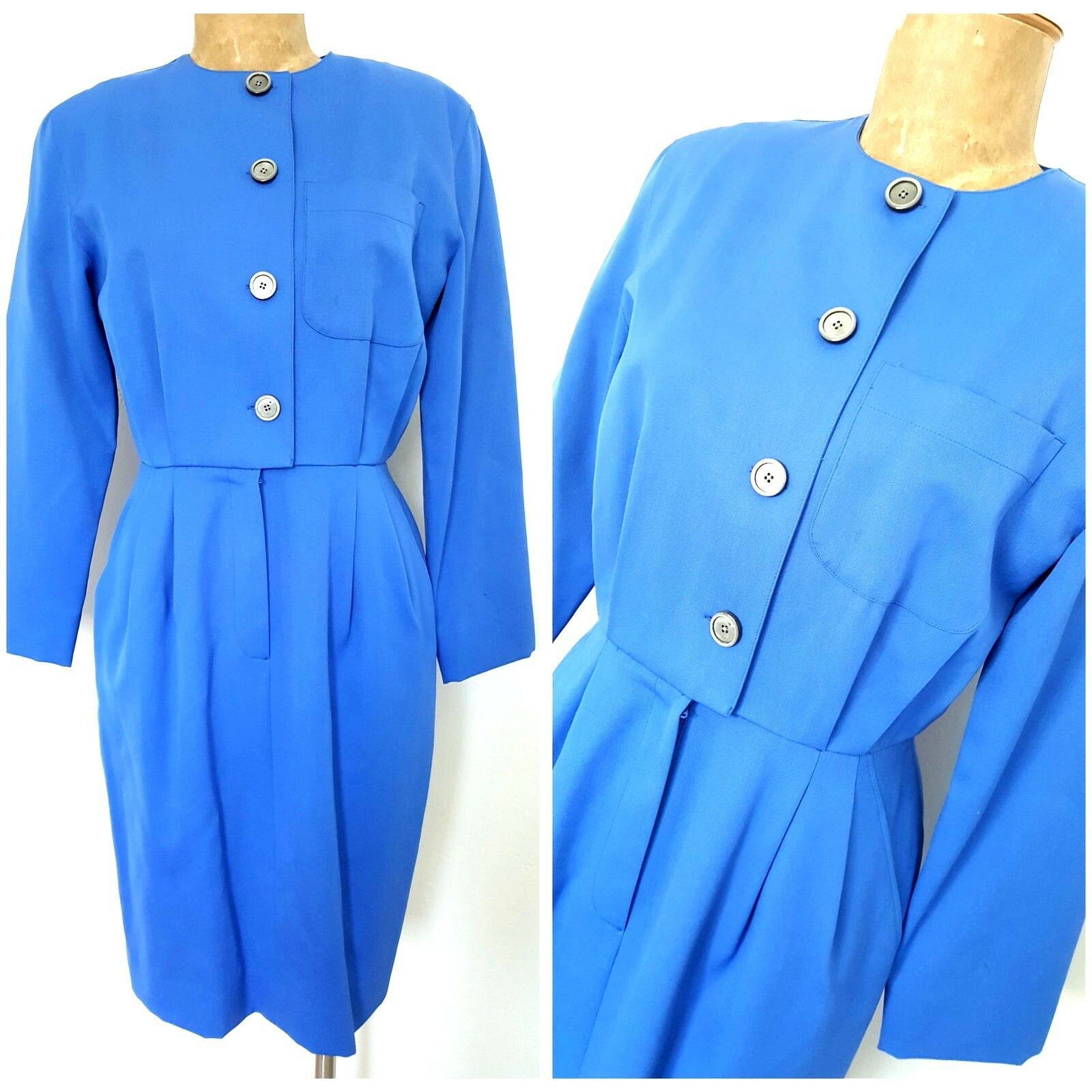 Vintage 80s Wool Secretary Dress Size Medium bluee Pencil Career Pleated Business
