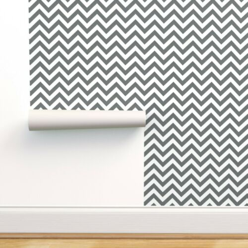 Removable Water-Activated Wallpaper Chevron Grey Geometric