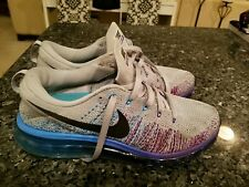 check out 6855b c5744  225 Nike Flyknit Air Max 620469-005) Wolf Grey Court Purple Vivid Blue Size