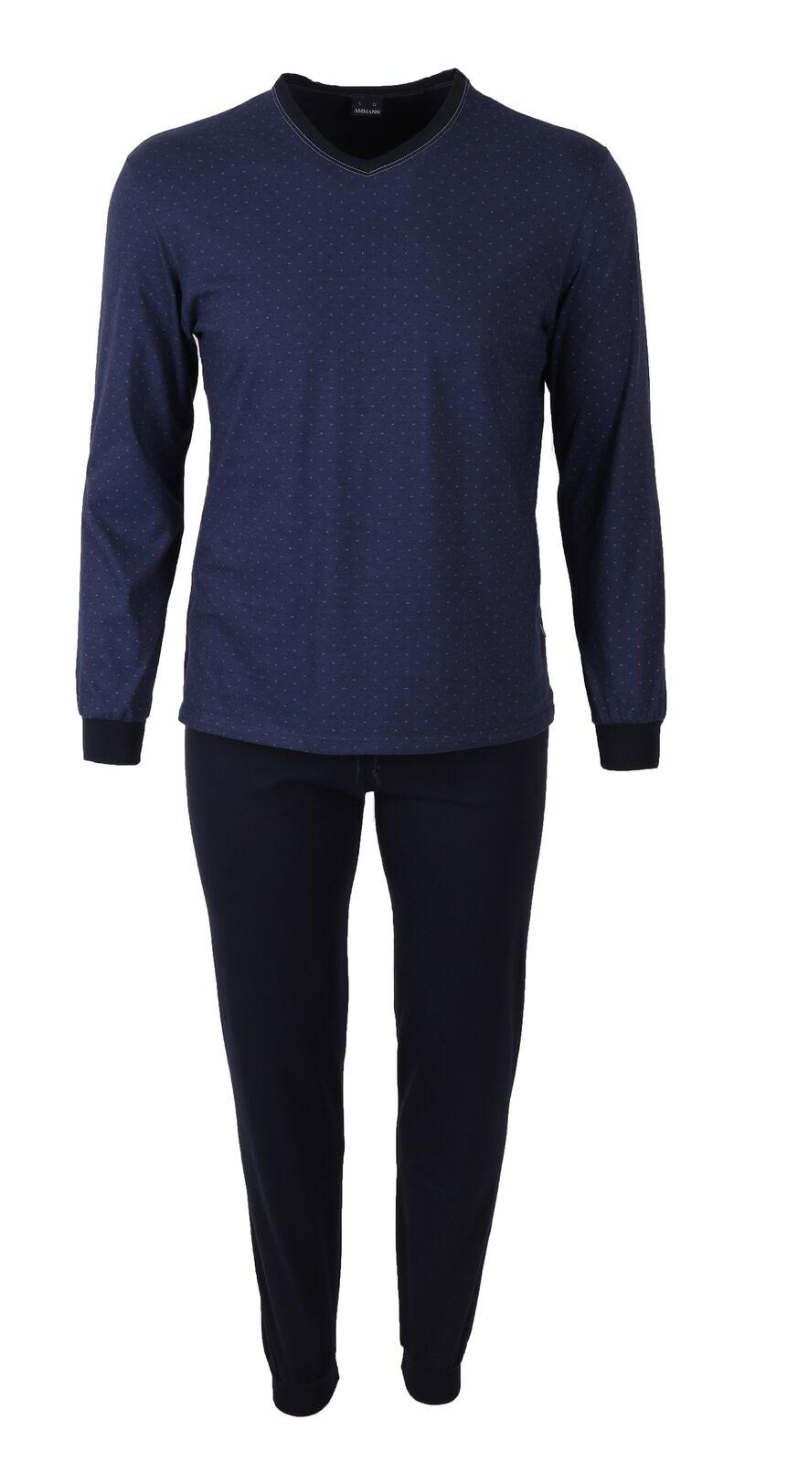 2 teiliger Herren Schlafanzug mit Bündchen Pyjama lang nightBlau Größen 48-56