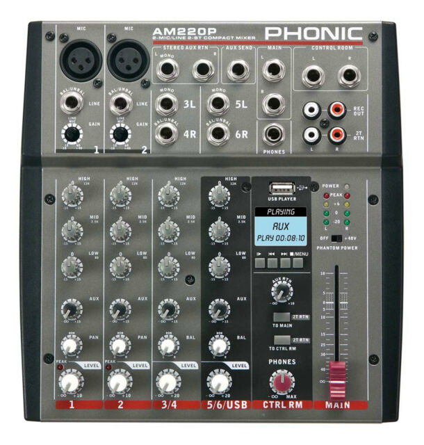 PHONIC AM220P COMPACT MIXER WITH 2-MIC/LINE AND 2-STEREO INPUTS WITH USB PLAYER