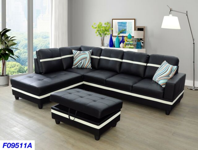 Terrific Lifestyle Furniture 3Pc Sectional Couch Set With Free Ottoman 2 Pillows 9511Ab Lamtechconsult Wood Chair Design Ideas Lamtechconsultcom