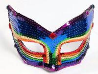 Rainbow Sequin Venetian Eyemask With Eyeglass Armbands