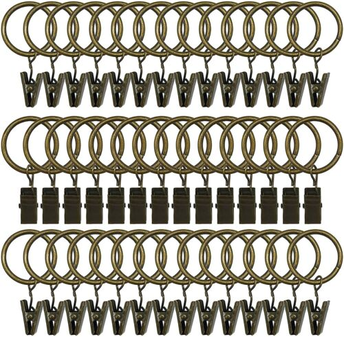 Interior 42 Pack Curtain Rings with Clips Decorative Drapery Rustproof Vintage