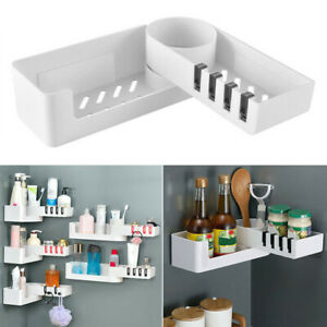 Corner Storage Rack Holder Shelf Bathroom Toilet Bath Seamless Rotating Tripod l