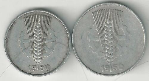 BOTH DATING 1950 2 OLDER COINS from EAST GERMANY 5 /& 10 PFENNIGS