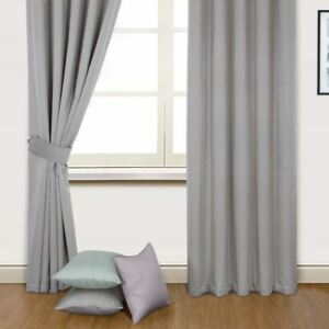 Anya Metallic Lined Ring Top Curtains Heather Duck Egg
