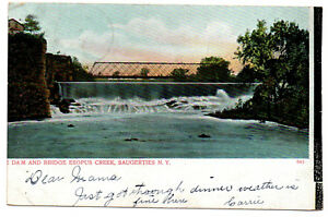 CPA-USA-841-Dam-and-Bridge-Esopus-Creek-Saugerties-New-York-Dos-simple