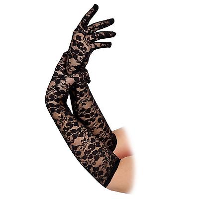 Adulto Lungo Da Donna Gomito Pizzo Nero Costume Gotico Costume Halloween Guanti