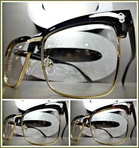 Mens Women CLASSIC VINTAGE 50's RETRO Style Clear Lens EYE GLASSES Fashion Frame