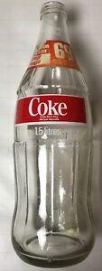 Vintage-1-5-Liter-Coca-Cola-Glass-Money-Back-Bottle-69-Cents-No-Lid