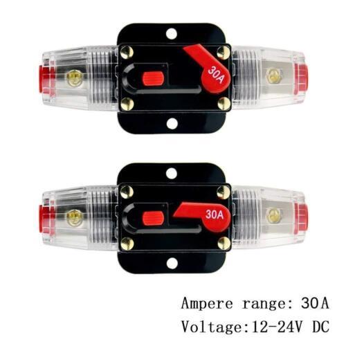 2PCS 12V-24V 30A Amp Car Audio Solar Energy Inline Circuit Breaker Fuse Holder
