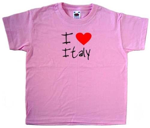 I Love Heart Italy Pink Kids T-Shirt