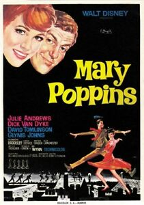 48aba4e576 1964 Disney Mary Poppins Julie Andrews Dick Van Dike movie poster ...