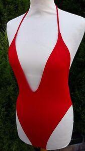 ASOS-RED-T-String-Back-High-Leg-Plunge-Swimsuit-Bikini-UK-8-EU-36-A332-13