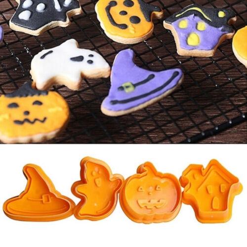 4x//set Pastry Decorating Fondant Halloween Pumpkin Cookie Cutter Biscuit Mold UK
