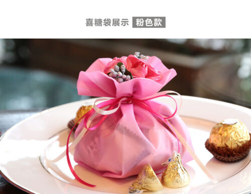 Luxury Organza Wedding Favours Bags Gift Jewellery Packing Bags /& Flowers Set