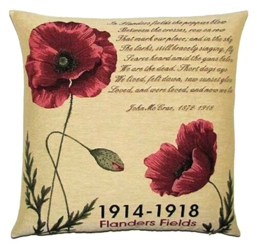 """NEW 18/"""" BELGIAN TAPESTRY CUSHION COVER FLANDERS FIELDS V1 1914-18 POPPIES 5325"""