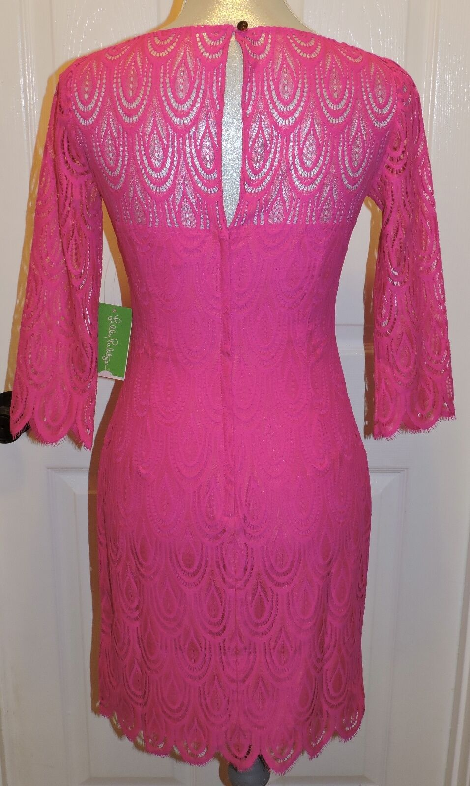 NWT LILLY PULITZER SZ 0 HERA TWO TONE TONE TONE FEATHERED LACE MAGENTA b47cc1