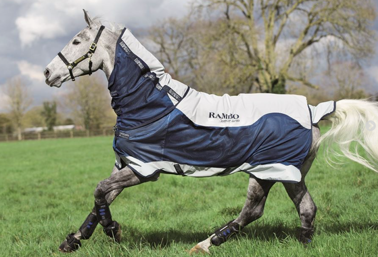 HORSEWARE RAMBO SUMMER SERIES 0G TURNOUT RUG GREY / BLUE with NAVY size 7'3
