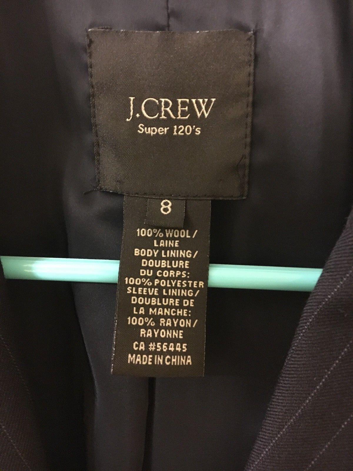 EUC J CREW SUPER 120'S 120'S 120'S WOOL BLAZER SZ 8 DARK NAVY PINSTRIPE 02624b