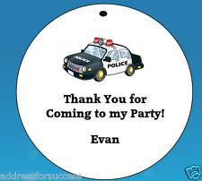 POLICE CAR THEME* 12 Personalized Hanging Favor Gift Tags