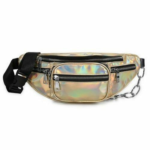 Fashion Women Waist Bag Casual Leather Chain Bags Zipper Travel Chest Fanny Pack