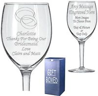 Engraved Wine Glass - Boxed - Bridesmaid- Maid of Honour - Chief Bridesmaid Gift
