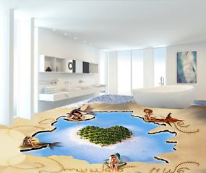 Isla Mar 3D Piso Parojo de papel pintado mural Sandy 9 impresión 5D AJ Wallpaper Reino Unido Limón