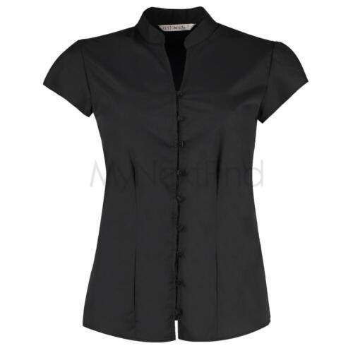 Kustom Kit Womens Continental Blouse Mandarin Collar Cap Sleeve