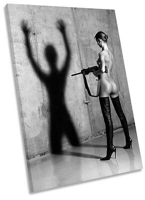 Sexy Erotic Gun Female Framed CANVAS WALL ART Print Picture