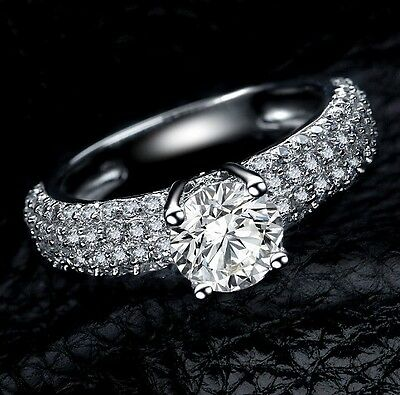 Not Fade  NICE Ladys 925 Silver Pave Set White Sapphire Wedding Ring Sz 5-10