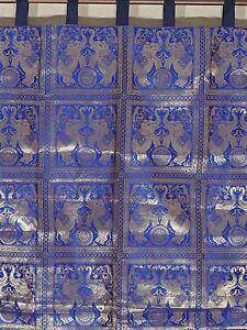 Blue-Living-Room-Curtain-Brocade-Gold-Elephant-Stylish-Indian-Window-Panel-84-034