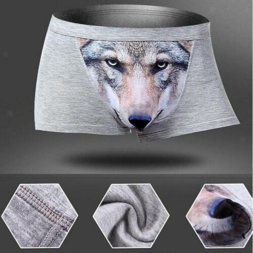 Men Wolf 3D Printed Cotton  Briefs Underwear Shorts Pants Trunks Many Color