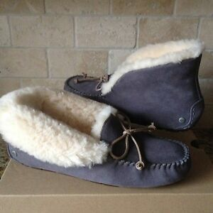 441756539af Details about UGG Alena Slippers Moccasins Night Fall Suede Sheepskin Cuff  Size US 12 Womens