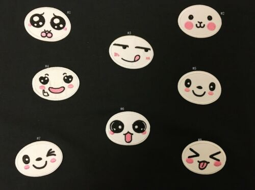 Sew on /& iron on embroidery patches white emoji faces