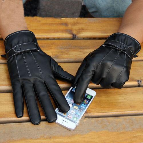 Fashion Hommes D/'hiver En Cuir Moto Plein Doigt écran Tactile Chaud Gants KY