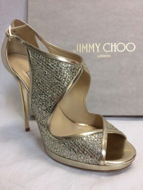 Nib Sz 10 885 Jimmy Choo Leondra Champagne Sandals Glitter Leather Heels