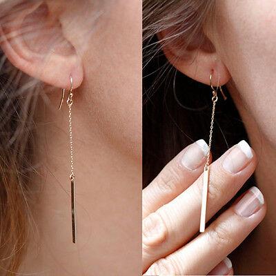 Fashion Gold Plated Long Dangle Drop Earrings Chain Hook Ear Stud Jewelry Womens
