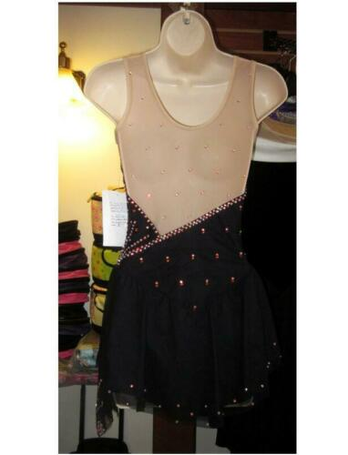 Details about  /Kids Ice Skating Dress Custom Girls Competition Figure Dresses Black Beaded YIKE