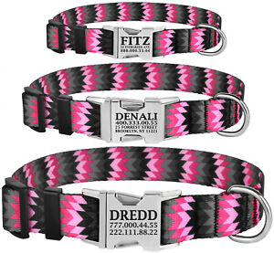 Nylon-Personalised-Dog-Collar-Small-Large-Pet-Collars-Custom-Engraved-Name-ID