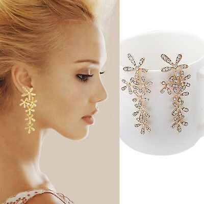 Newly Vogue Rhinestone Crystal Snowflake Flower Long Dangle Earrings Ear Stud