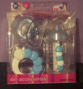 NEW-JC-Toys-3-Piece-Blue-Doll-Accessory-Gift-Set-Bottle-Pacifier-Rattle-Boutique