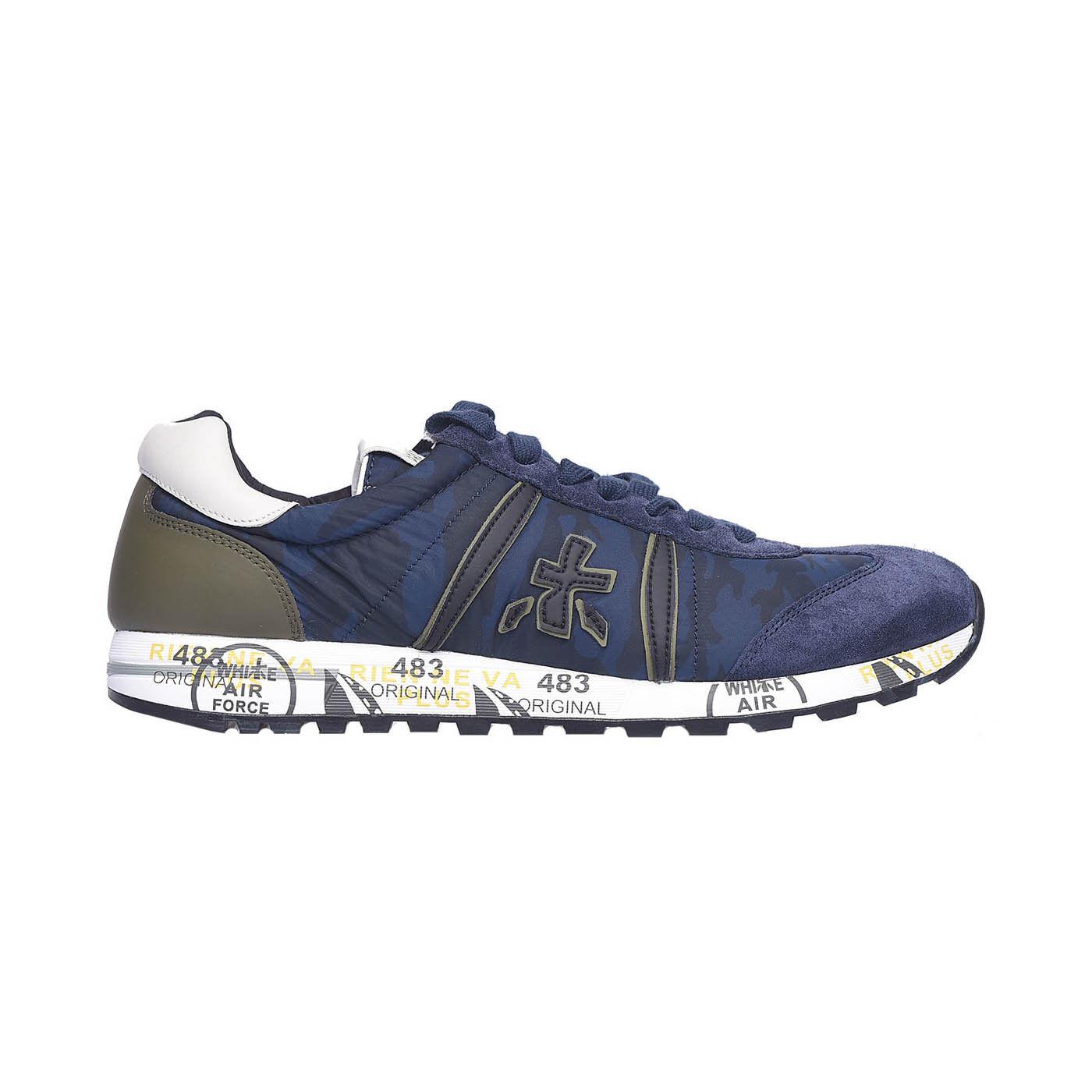Premiata Lucy 2460 Leather - Fabric Italian Sneakers bluee Camo