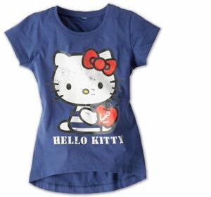 Hello-Kitty-Maedchen-T-Shirt-100-Baumwolle-Dunkelblau-Kinder-Kleinkinder-Oko-Tex