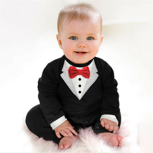 Baby Boy Formal Suit Party Wedding Bowtie Tuxedo Gentleman Romper Jumpsuit Outfi