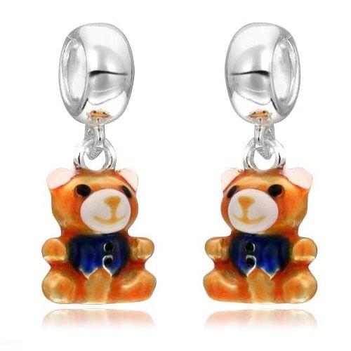 MATERIA 925 Silber Dangle Beads Anhänger Bärchen emailliert für European Armband
